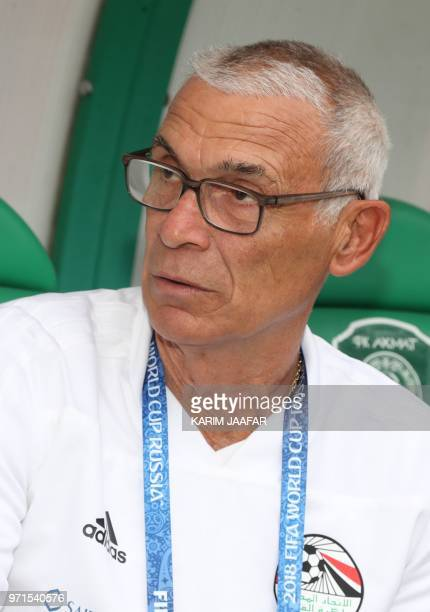 Egypt's coach Hector Raul Cuper attends a training session at the Akhmat Arena stadium in Grozny on June 11 ahead of the Russia 2018 World Cup...