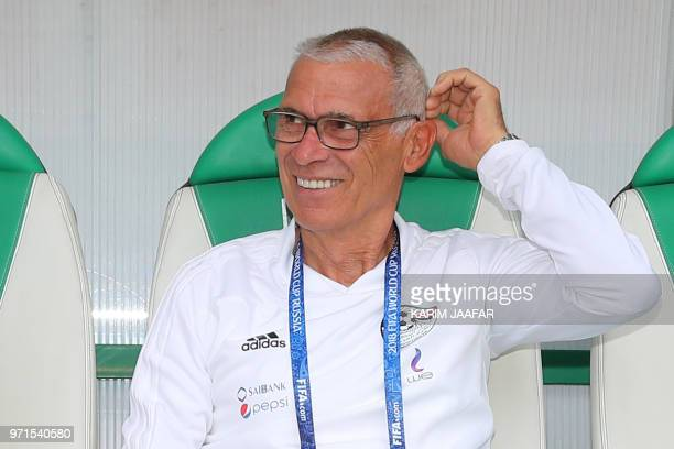 Egypt's coach Hector Raul Cuper attends a training session at the Akhmat Arena stadium in Grozny on June 11 ahead of the Russia 2018 World Cup