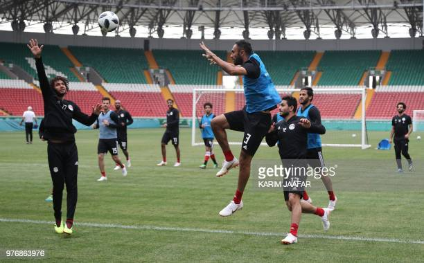 Egypt's defender Ahmed Elmohamady and Egypt's midfielder Mohamed Elneny attend a training session during the Russia 2018 World Cup football...