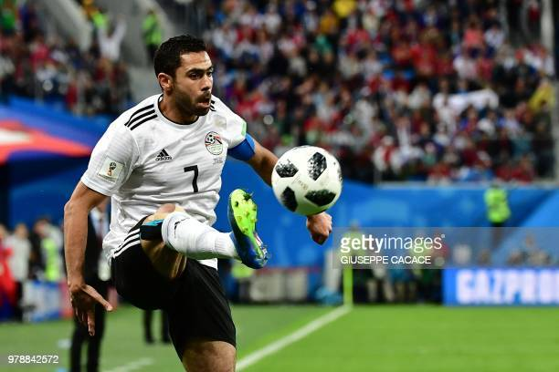 Egypt's defender Ahmed Fathi controls the ball during the Russia 2018 World Cup Group A football match between Russia and Egypt at the Saint...
