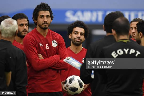Egypt's defender Ahmed Hegazi and Egypt's forward Mohamed Salah attend a training session on June 18 2018 in Saint Petersburg during the Russia 2018...