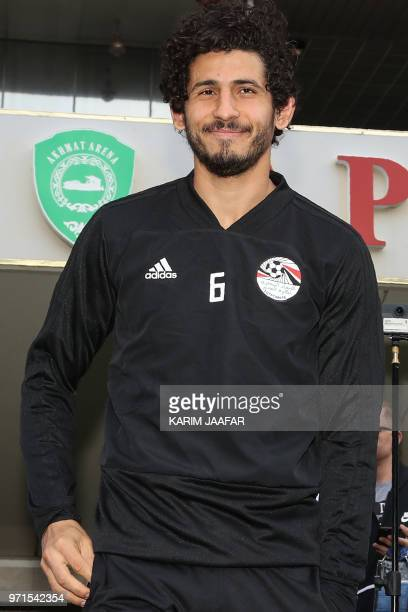 Egypt's defender Ahmed Hegazi arrives for a training session of Egypt's national football team at the Akhmat Arena stadium in Grozny on June 11 ahead...