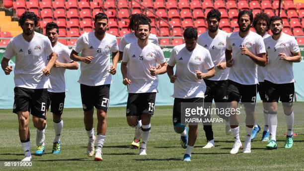 Egypt's defender Ahmed Hegazi Egypt's midfielder Tarek Hamed Egypt's forward Mahmoud 'Trezeguet' Hassan Egypt's defender Mahmoud 'El Winsh' Hamdy...