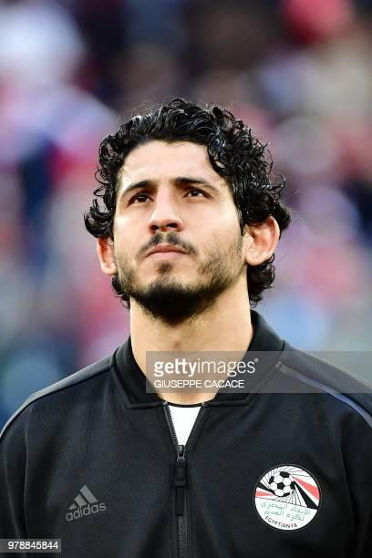 Egypt's defender Ahmed Hegazi looks on prior to the Russia 2018 World Cup Group A football match between Russia and Egypt at the Saint Petersburg...