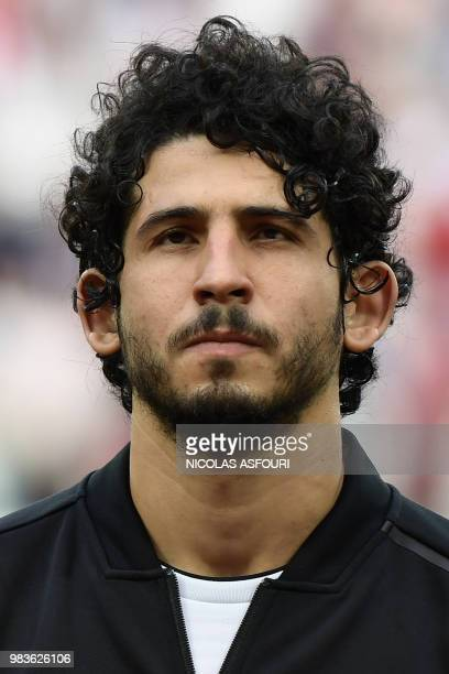 Egypt's defender Ahmed Hegazi poses for a photo before the Russia 2018 World Cup Group A football match between Saudi Arabia and Egypt at the...