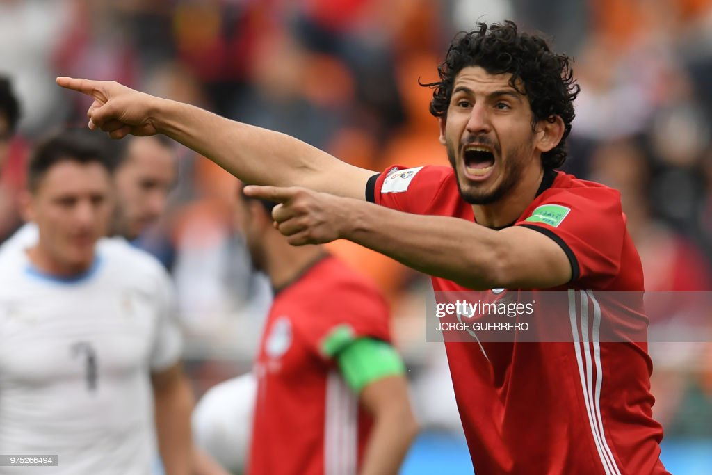 Egypt's defender Ahmed Hegazi reacts during the Russia 2018 World Cup Group A football match between Egypt and Uruguay at the Ekaterinburg Arena in Ekaterinburg on June 15, 2018. (Photo by JORGE GUERRERO / AFP) / RESTRICTED