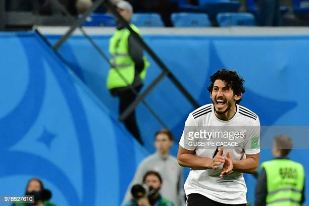 Egypt's defender Ahmed Hegazi reacts during the Russia 2018 World Cup Group A football match between Russia and Egypt at the Saint Petersburg Stadium...