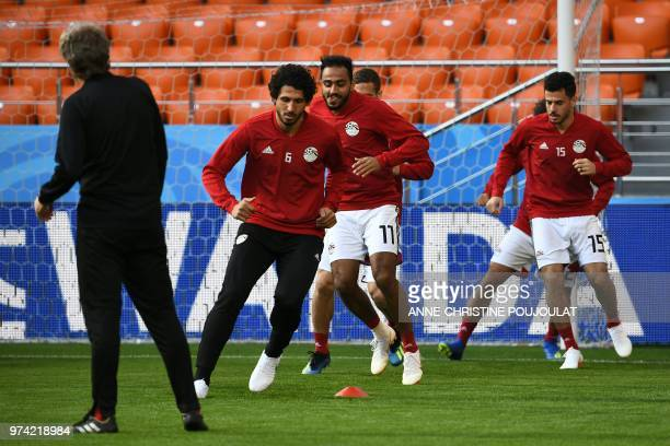 Egypt's defender Ahmed Hegazi takes part in a training session at Ekaterinburg Stadium in Ekaterinburg on June 14 a day ahead the team's Russia 2018...