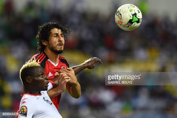 Egypt's defender Ahmed Hegazy challenges Burkina Faso's forward Aristide Bance during the 2017 Africa Cup of Nations semifinal football match between...