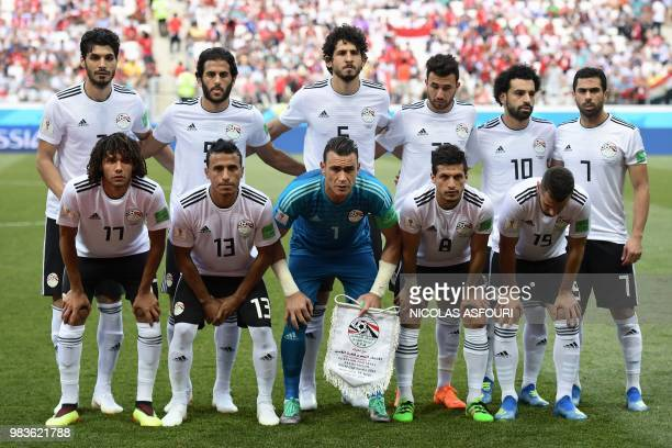Egypt's defender Ali Gabr forward Marwan Mohsen defender Ahmed Hegazi forward Mahmoud 'Trezeguet' Hassan forward Mohamed Salah defender Ahmed Fathi...