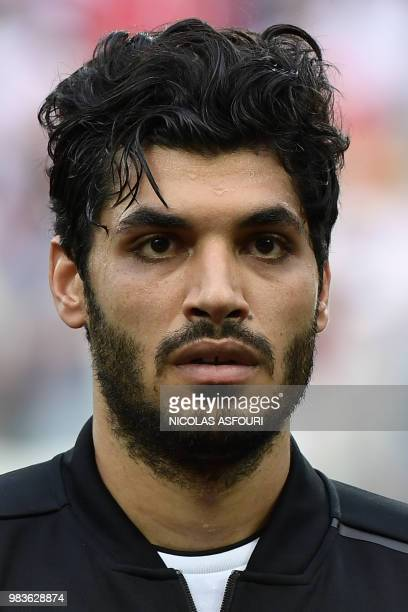 Egypt's defender Ali Gabr poses for a photo before the Russia 2018 World Cup Group A football match between Saudi Arabia and Egypt at the Volgograd...