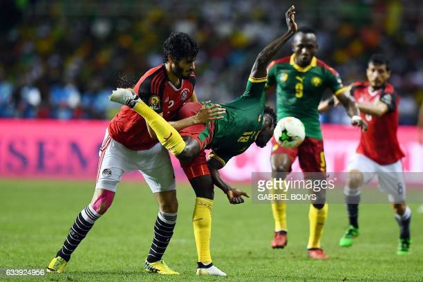 Egypt's defender Ali Gabr vies for the ball against Cameroon's midfielder Robert Ndip Tambe during the 2017 Africa Cup of Nations final football...