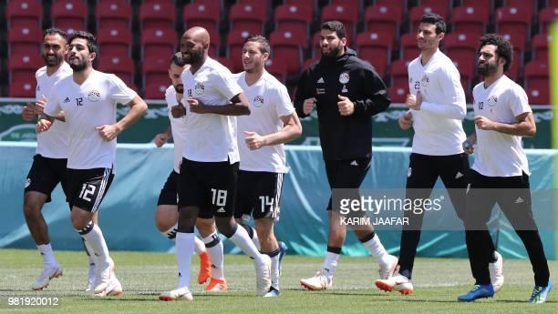 Egypt's defender Ayman Ashraf Egypt's forward Mahmoud 'Shikabala' Abdel Razek Egypt's midfielder Ramadan Sobhi Egypt's goalkeeper Essam El Hadary...