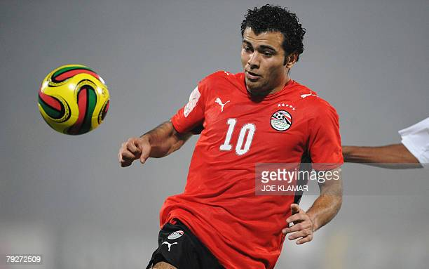 Egypt's Emad Ibrahim eyes the ball during match between Egypt and Sudan in Kumasi on 26 January 2008 during the African Cup of Nations football...