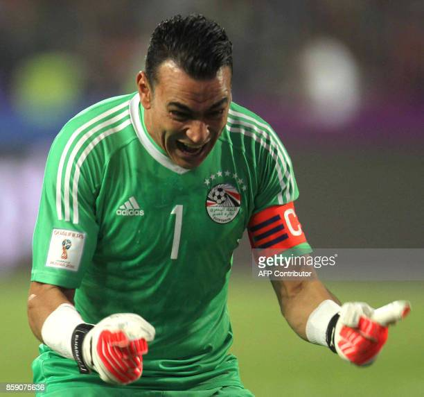 Egypt's Essam ElHadary celebrates wining against Congo's team during their World Cup 2018 Africa qualifying match between Egypt and Congo at the Borg...
