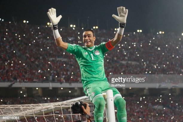 Egypts Essam Elhadry celebrating World Cup access and victory over Congo during the 2018 World Cup group E qualifying soccer match at Borg El Arab...