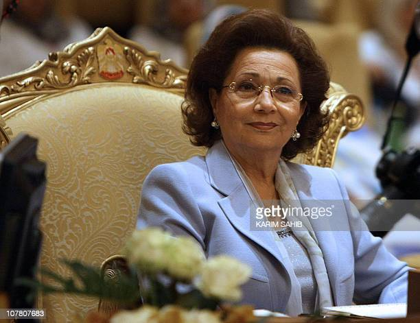 Egypt's First Lady Suzanne Mubarak attends the opening session of the second confernece of Arab women organisations in the Emirati capital Abu Dhabi...