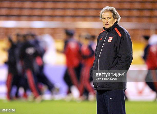 Egypt's football club AlAhly head coach Manuel Jose of Portugal attends an official practice session of the FIFA Club World Championship TOYOTA Cup...
