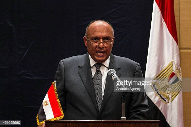 Egypt's Foreign Minister Sameh Hassan Shoukry holds a joint press conference after meeting US Secretary of State John Kerry over latest developments...