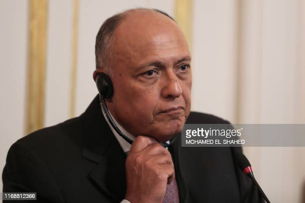 Egypt's Foreign Minister Sameh Shoukry listens to the translation during a press conference in Egypt's capital Cairo on September 17, 2019.