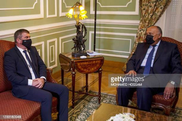 Egypt's Foreign Minister Sameh Shoukry meets with his Israeli counterpart Gabi Ashkenazi at Tahrir Palace in the centre of the capital Cairo on May...
