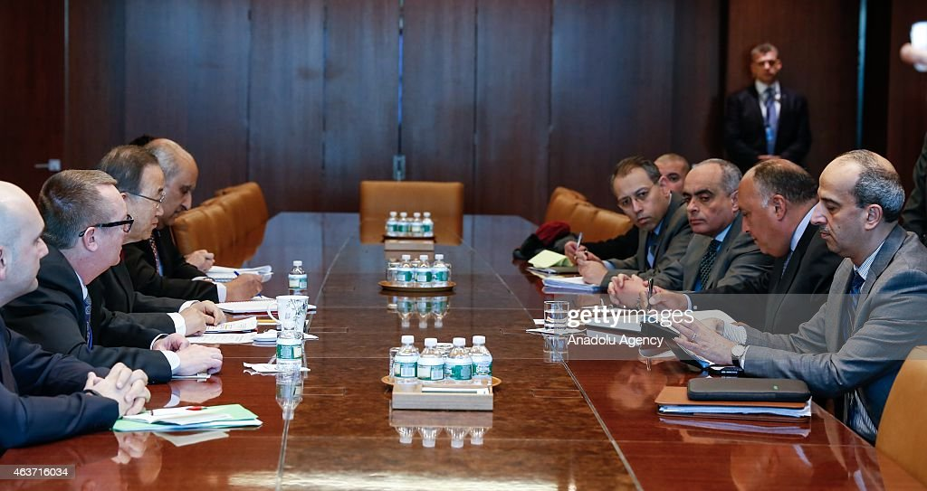 UN chief meets Egyptian FM about Libya in New York : News Photo