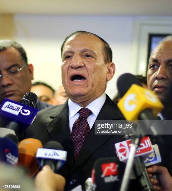 Egypt's former army chief of staff Sami Anan speaks during a press conference about his position in the next presidential election at his office in...