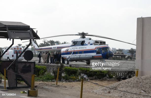 Egypt's former President Hosni Mubarak is being carried to an airambulance with a stretcher at Maadi Hospital in Cairo Egypt on March 02 2017 to...