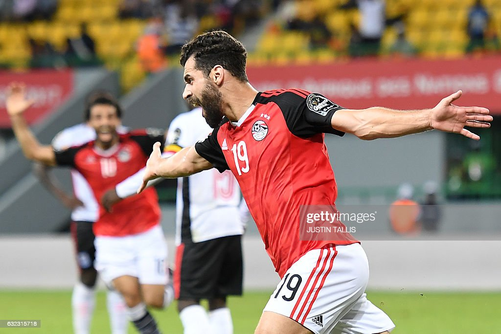 TOPSHOT - Egypt's forward Abdallah Said celebrates after scoring a goal during the 2017 Africa Cup of Nations group D football match between Egypt and Uganda in Port-Gentil on January 21, 2017. / AFP / Justin TALLIS