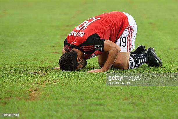 Egypt's forward Abdallah Said celebrates after scoring a goal during the 2017 Africa Cup of Nations group D football match between Egypt and Uganda...