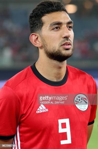 Egypt's forward Ahmed Hassan Mahgoub known as Kouka looks on during the international friendly football match between Kuwait and Egypt at the Jaber...
