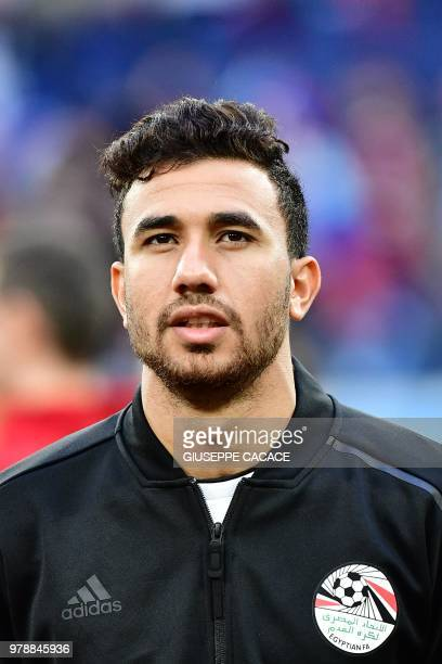 Egypt's forward Mahmoud 'Trezeguet' Hassan looks on prior to the Russia 2018 World Cup Group A football match between Russia and Egypt at the Saint...