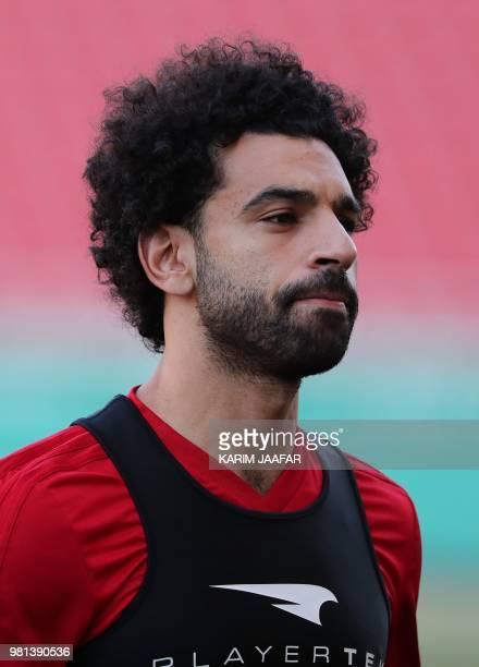 Egypt's forward Mohamed Salah attends a training session at the Akhmat Arena stadium in Grozny on June 22 2018