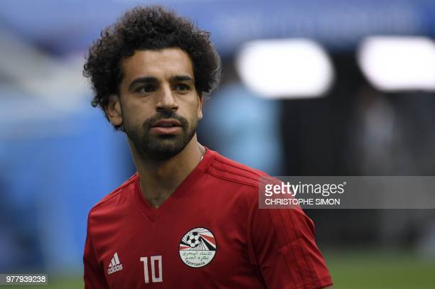 Egypt's forward Mohamed Salah attends a training session on June 18 2018 in Saint Petersburg during the Russia 2018 World Cup football tournament