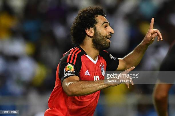 Egypt's forward Mohamed Salah celebrates after scoring a goal during the 2017 Africa Cup of Nations semifinal football match between Burkina Faso and...