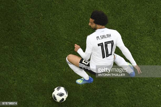 TOPSHOT Egypt's forward Mohamed Salah controls the ball during the Russia 2018 World Cup Group A football match between Russia and Egypt at the Saint...