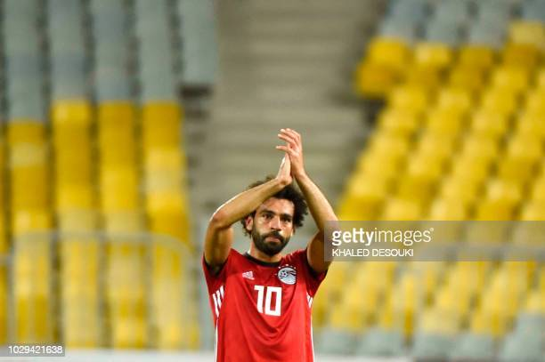 Egypts forward Mohamed Salah greets fans after the 2019 Africa Cup of Nations qualifier football match between Egypt and Niger on September 8 2018 at...