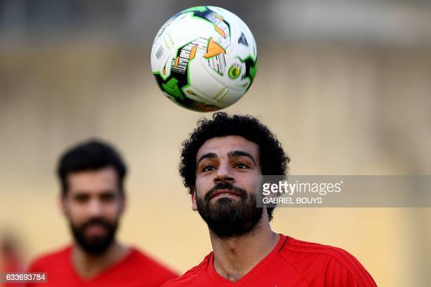 Egypt's forward Mohamed Salah juggles a ball during a training session in Libreville on February 3 two days ahead of the final of the 2017 Africa Cup...
