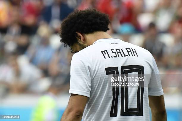 TOPSHOT Egypt's forward Mohamed Salah looks down during the Russia 2018 World Cup Group A football match between Saudi Arabia and Egypt at the...