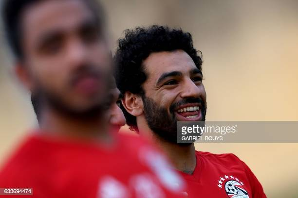 Egypt's forward Mohamed Salah reacts during a training session in Libreville on February 3 2017 two days ahead of the final of the 2017 Africa Cup of...