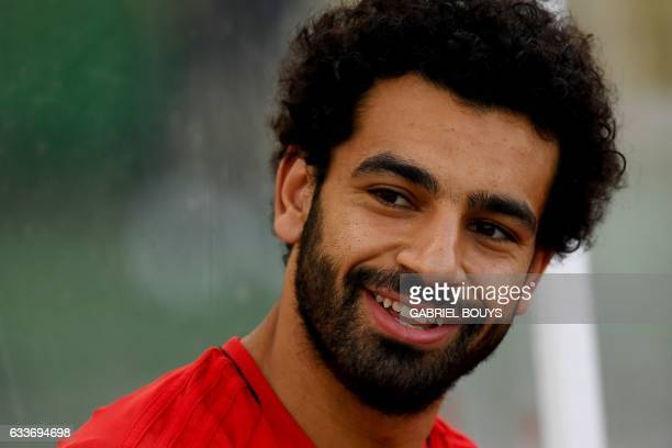 Egypt's forward Mohamed Salah reacts during a training session in Libreville on February 3 two days ahead of the final of the 2017 Africa Cup of...