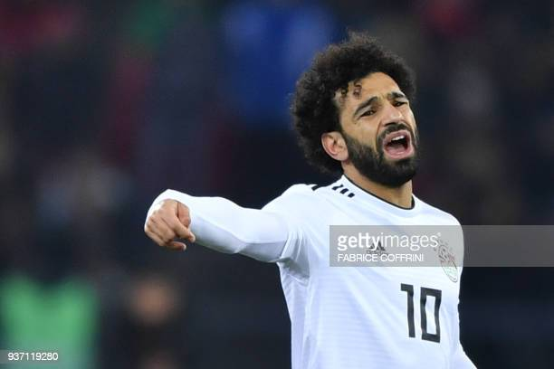 Egypt's forward Mohamed Salah reacts during an international friendly football match between Portugal and Egypt at Letzigrund stadium in Zurich on...