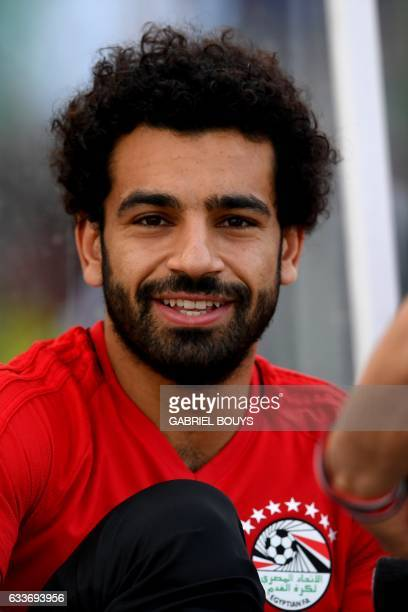 Egypt's forward Mohamed Salah reacts prior to a training session in Libreville on February 3 two days ahead of the final of the 2017 Africa Cup of...