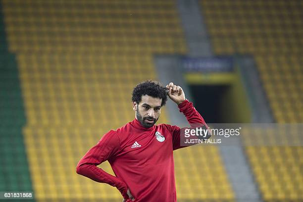 Egypt's forward Mohamed Salah stands on the pitch during a training session at PortGentil Stadium on January 16 during the 2017 Africa Cup of Nations...