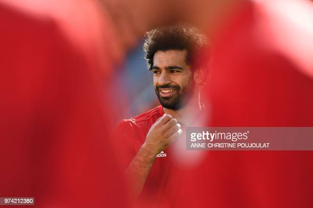 Egypt's forward Mohamed Salah takes part in a training session at Ekaterinburg Stadium in Ekaterinburg on June 14 a day ahead the team's Russia 2018...