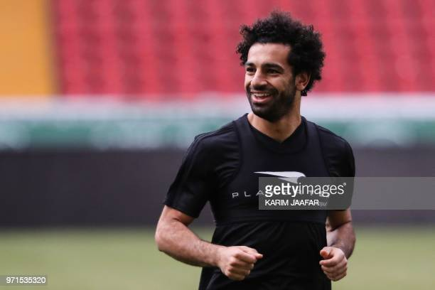 Egypt's forward Mohamed Salah takes part in a training session of Egypt's national football team at the Akhmat Arena stadium in Grozny on June 11...