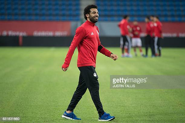 Egypt's forward Mohamed Salah walks on the pitch during a training session at PortGentil Stadium on January 16 during the 2017 Africa Cup of Nations...
