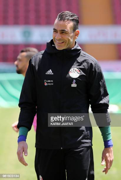 Egypt's goalkeeper Essam El Hadary smiles during a training session at the Akhmat Arena stadium in Grozny on June 23 2018