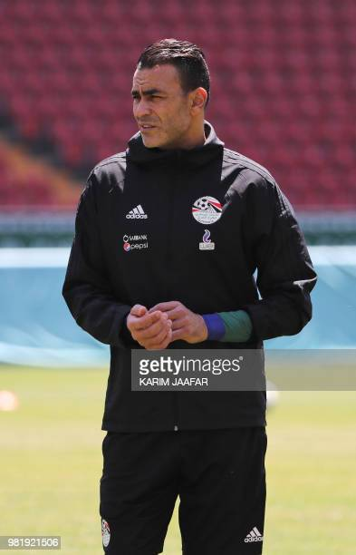 Egypt's goalkeeper Essam El Hadary stands on the pitch during a training session at the Akhmat Arena stadium in Grozny on June 23 2018