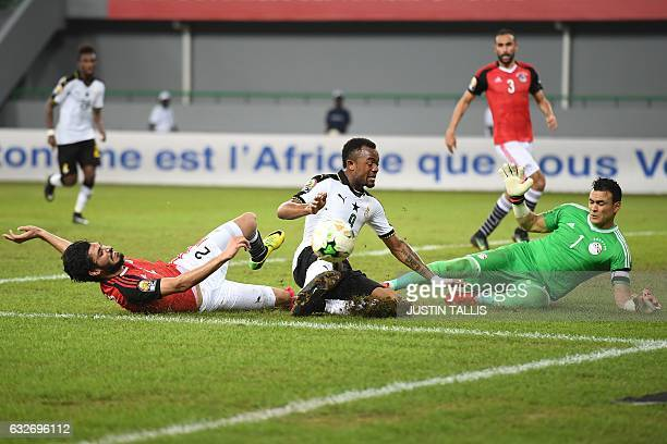 Egypt's goalkeeper Essam ElHadary and Egypt's defender Ali Gabr block a shot on goal by Ghana's forward Jordan Ayew during the 2017 Africa Cup of...